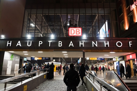 MUNICH, GERMANY - FEBRUARY 18, 2016: Main entrance of Munich Main Railway Station (Munchen Hauptbahnhof). Editorial