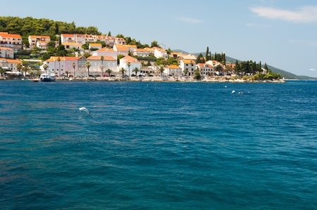 Town Korcula on island Korcula in Croatia. Korcula is known as the town in which Marco Polo was born.
