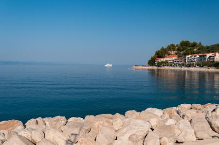 Beautiful coastline with crystal clear sea in port of Podgora-Caklje, Croatia Stock Photo