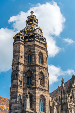 Tower of Saint Elizabeth Cathedral, Kosice, Slovakia. The Saint Elizabeth Cathedral is the easternmost Gothic cathedral in Europe and the largest church in Slovakia. Vertical photo