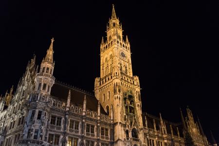 Night scene of town hall at the Marienplatz in Munich, Germany. Horizontal image.