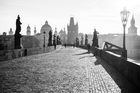 The Charles Bridge (Karluv Most) and Old Town Tower at sunrise, Prague, Czech Republic