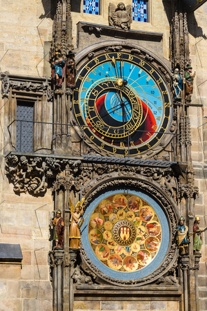The Prague Astronomical Clock or Orloj in the old town of Prague. The medieval clock is mounted on the south wall of the Old Town Hall tower. Postcard of Prague. Prague, Czech republic Editorial