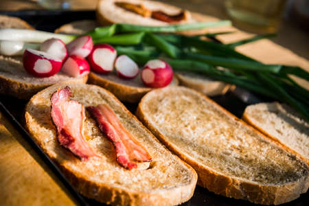 Grilled bacon slice on fatty bread with green onion and fresh radish on a hungarian summer grill party. Barbecue background