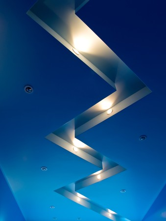 Blue ceiling with halogen lamps