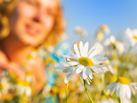 Summer flower with girl silhouette Stock Photo