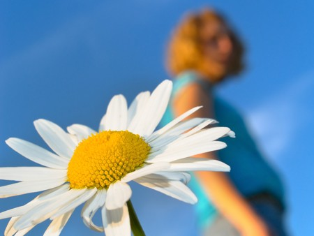 White flower with girl silhouette Stock Photo