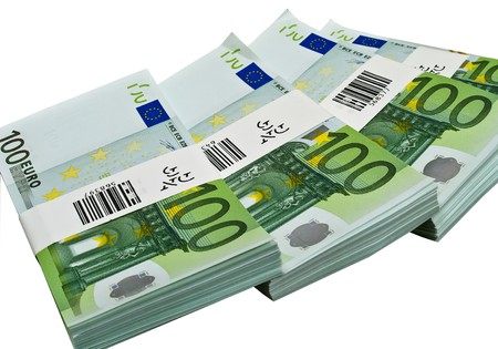 One hundred euro banknotes isolated on white Stock Photo