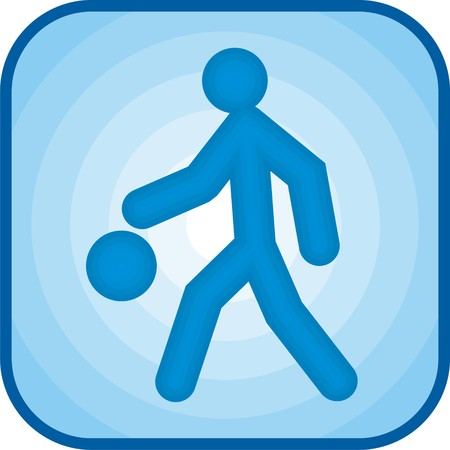 Basketball icon in blue square Stock Photo
