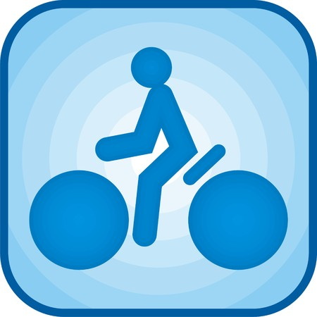 Cycling icon in blue color square Stock Photo