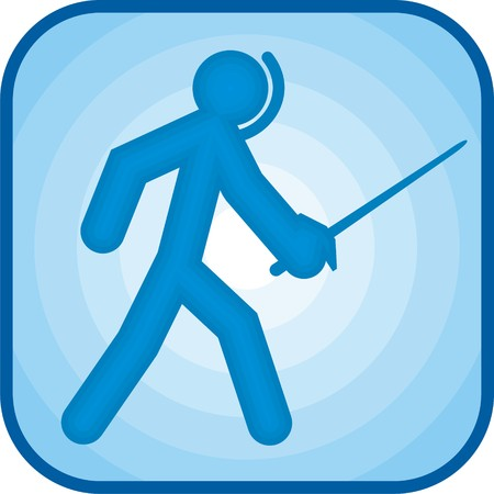 Fencing icon in blue square Stock Photo