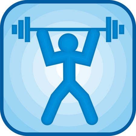 Weightlifting icon in blue square