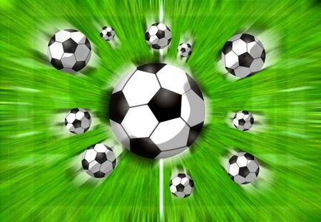 Football filed with flying balls Stock Photo