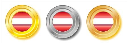 Austria golden, silver and bronze buttons