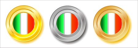 Italy golden, silver and bronze buttons Stock Photo