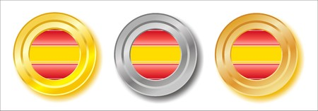 Spain golden, silver and bronze buttons