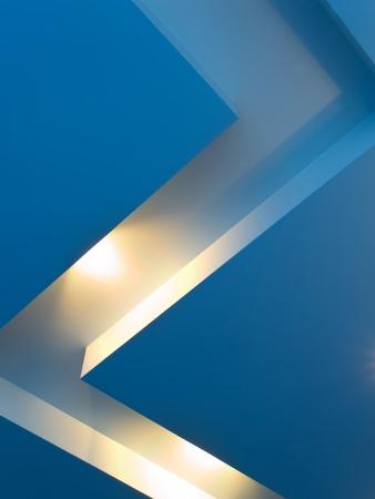 Blue ceiling with halogen lights