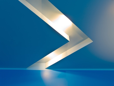 Inter with blue ceiling and halogen lightening Stock Photo - 9087106