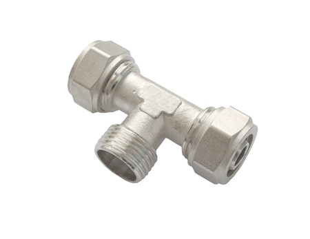 Waterpipe connector isolated on white background Stock Photo