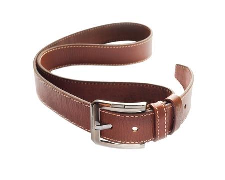 Leather fashion belt on white background