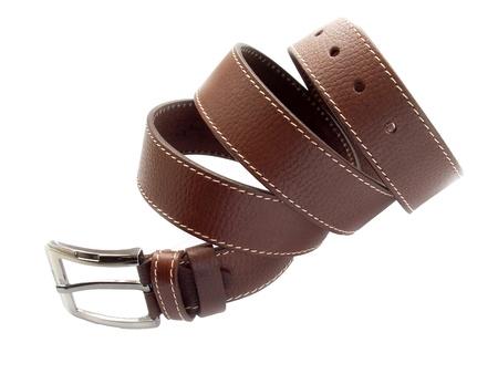Brown fashion belt on white background photo