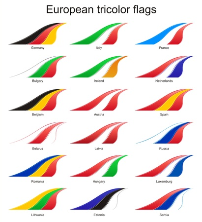 European countries tricolor flags Stock Photo