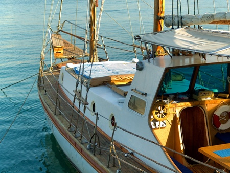 Anchored yacht in the port Editorial