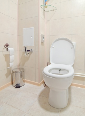 Toilet room interior with white water-closet