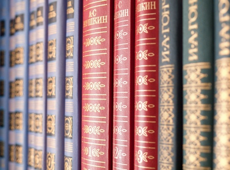 Classical russian literature books on the shelf