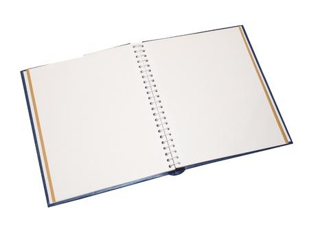 Blank photo album opened isolated on white background