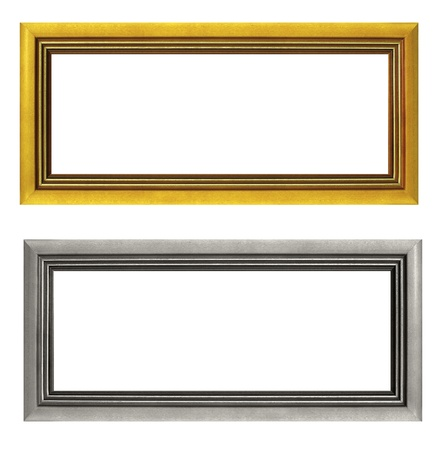 Empty golden and silver picture frames isolated on white background Stock Photo