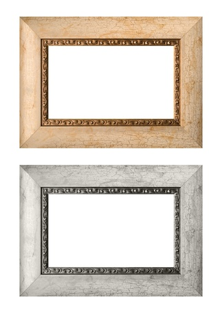 Empty picture frames isolated on white background