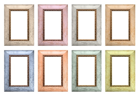 Set of color empty picture frames isolated on white background Stock Photo