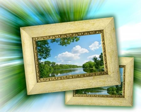 Picture frame with bright summer landscape inserted