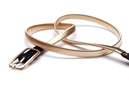 Women golden metallic fashion belt Stock Photo