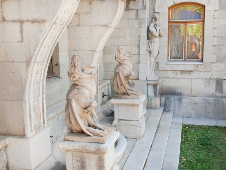 Sculptures in Massandra s palace in Crimea - satyres and chimeras