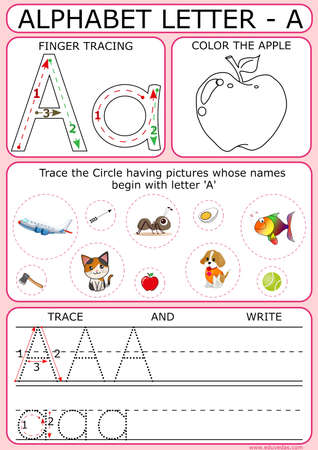 Letter - 'A' tracing, writing and coloring enabled fun based learning worksheet for Kindergarten kids.
