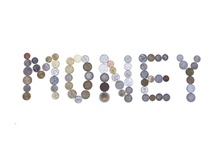 typescript: Money word created with coins.