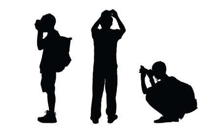 Vector silhouettes of people taking picture with a camera.