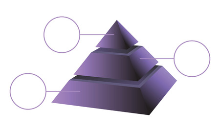 Blue layered shaded pyramid vector diagram with labels. Illustration