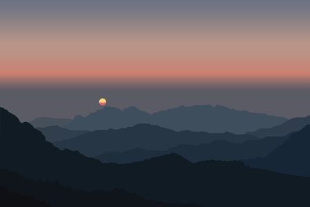 Misty dark blue mountains with rising sun on red sky in Borneo vector. Illustration