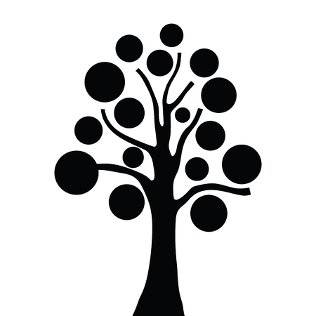 Stylized simple tree vector silhouette on white background.