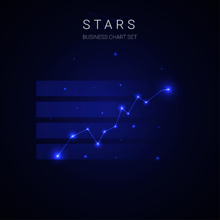Business star growing chart vector on blue background.