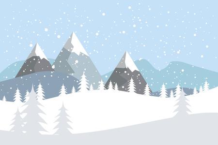 Płaski krajobraz wektor z sylwetkami drzew, wzgórz i gór z padającym śniegiem.