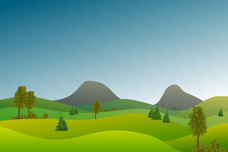 Vector flat landscape with green hills and trees and blue bright sky.