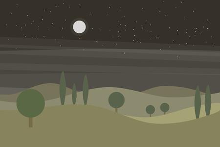 별과 녹색 언덕과 나무와 밤 하늘 벡터 평면 풍경