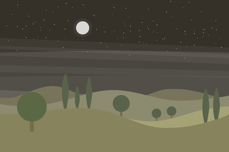 Vector flat landscape with green hills and trees and night sky with stars