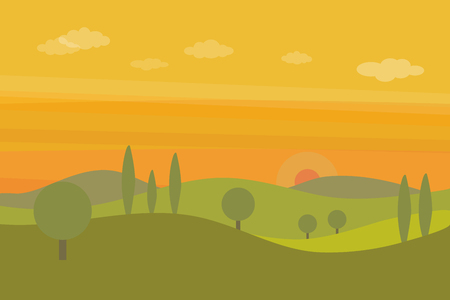 Vector flat landscape with green hills, trees and orange sunset sky with clouds