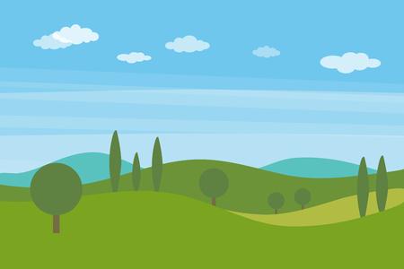 녹색 언덕과 나무와 구름과 푸른 밝은 하늘 벡터 평면 풍경