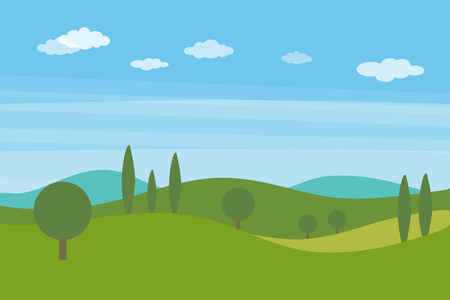 Vector flat landscape with green hills and trees and blue bright sky with clouds Ilustração